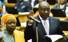 ANC president Cyril Ramaphosa being sworn in as an MP in Parliament on 22 May. Picture: Xanderleigh Dookey/EWN.