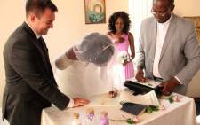 Zimbabwean professional tennis player Zanele Ndlovu has married British charity worker Jamie Fox days after having her arm ripped off by a crocodile. Picture: Screengrab