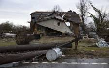 A home is shown destroyed by high winds from one of several tornadoes that tore through the state overnight on 3 March, 2020 in Cookeville, Tennessee. Picture: AFP