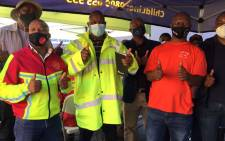 Gauteng Transport MEC Jacob Mamabolo (centre) with minibus taxi operators and commuters at a mobile vaccination drive at the Noord taxi rank in Johannesburg on 19 August 2021. Picture: Eyewitness News
