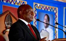 South African President Cyril Ramaphosa delivers the eulogy at the memorial service of Isilo Samabandla His Majesty King Goodwill Zwelithini Kabhekuzulu in KwaNongoma in KwaZulu-Natal on 18 March 2021. Picture: GCIS