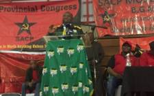 Deputy President Cyril Ramaphosa addressing ANC and SACP supporters at the Moses Kotane Memorial Lecture in Rustenburg. Picture: Clement Manyathela/EWN.