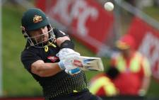 Australia's captain Aaron Finch plays a shot during the 2nd cricket T20 match between New Zealand and Australia at University Oval in Dunedin on 25 February 2021. Picture: Marty Melville/AFP