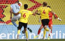 Manchester City defender Aymeric Laporte scores his team's fourth goal during the English Premier League football match between Watford and Manchester City at Vicarage Road Stadium in Watford, north of London on 21 July 2020. Picture: AFP