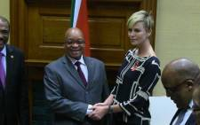 President Jacob Zuma met with the US actress and UN Messenger of Peace, Charlize Theron, in Pretoria on 29 July 2013. Picture: Christa van der Walt/EWN