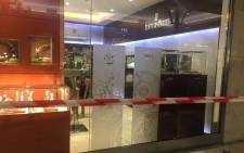 Boutique Haute Horlogerie has been condoned off following a robbery by armed men at Hyde Park Corner in Johannesburg. Picture: Mia Lindeque/EWN.