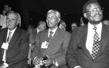 MAKING HISTORY: South Africa's then-president FW de Klerk (right), Nelson Mandela and IFP leader Mangosuthu Buthelezi make their first joint appearance overseas at the World Economic Forum's annual meeting in Davos in 1992. Picture: weforum.org