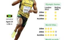 Usain Bolt's Olympic and World Championship medals and his world 100m, 200m and 4x100m records.