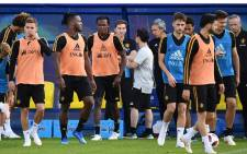 Belgium's team players take part in a training session of Belgium's national football team at the Guchkovo Stadium in Dedovsk, outside Moscow, on July 8, 2018, ahead of their Russia 2018 World Cup semi-final football match against France.  Picture: AFP