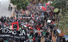 Hundreds march through the streets of Sao Paulo in an anti-world cup protest on 19 June 2014.  Picture: Christa Eybers/EWN