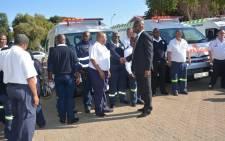 Northern Cape Premier Zamani Saul receives 63 ambulance vehicles for the province. Picture: Zamani Saul/Twitter.