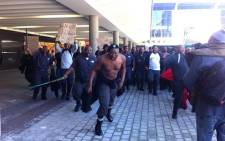 Dozens of Metrorail security guards protest at Cape Town station on 29 July 2014. Picture: Siyabonga Sesant/EWN.