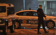 Police block off the area around the US Embassy in Montenegro's capital Podgorica on 22 February, 2018. Picture: AFP