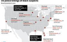 Map of the United States locating recent controversial police shootings of black men.