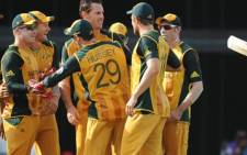 The Australian cricket team at during the Twenty20 World Cup in Bridgetown. Picture: AFP
