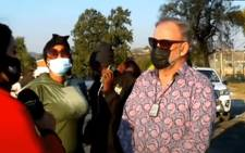 Suspended MKMVA spokesperson Carl Niehaus outside the Estcourt Correctional Centre in KwaZulu-Natal on 8 July 2021, shortly before he was arrested. Picture: YouTube screengrab/SABC.