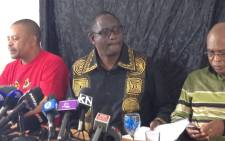 Sacked Congress of South African Trade Union, Zwelinzima Vavi, speaking to the media during a press conference in Johannesburg on 1 April 2015. Picture: Vumani Mkhize/EWN.