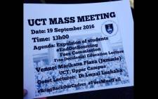 Protesting UCT students handed out pamphlets about a meeting on 19 September 2016. Picture: Shamiela Fisher/EWN.