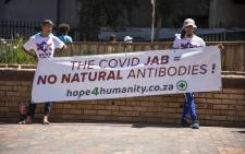 ACDP members holding a march on 14 October 2021 against the concept of mandatory COVID-19 vaccines. Picture: Abigail Javier/Eyewitness News