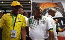Newly elected ANC president Cyril Ramaphosa accompanied by new Treasurer General Paul Mashatile on a walkabout at the party's national conference in Nasrec on Monday 19 December 2017. Picture: Twitter/@MYANC