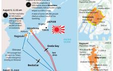 Graphic on the atomic bombings in Japan in 1945.