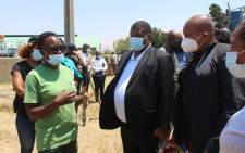 Water and Sanitation Deputy Minister David Mahlobo (centre) and North West Premier Bushy Maape (right) at the Mmabatho Water Treatment Plant on 25 October 2021. Picture: @NWPGOV/Twitter