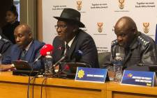 Minister of Police Bheki Cele briefs the media following the presentation to the Portfolio Committee on Police on the 2017/2018 crime statistics. Picture: @SAgovnews/Twitter