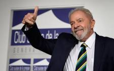 "In this file photo taken on March 06, 2020, former Brazilian president Luiz Inacio Lula da Silva gives a thumb up during an event titled: ""Dialogue about inequality with global unions and general public"" at the Geneva Press Club in Geneva. Picture: Fabrice Coffrini/ AFP."
