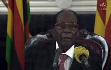 FILE: A screengrab from the broadcast of Zimbabwe Broadcasting Corporation (ZBC) shows former Zimbabwe President Robert Mugabe delivering a speech in Harare on 19 November 2017 following a meeting with army chiefs who have seized power in Zimbabwe. Picture: AFP.