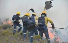FILE: Working on Fire firefighters battling a fire on the Bainskloof Pass. Picture: @wo_fire/Twitter.