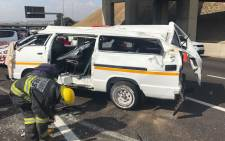 The scene of a taxi accident on the M1 South in Buccleuch interchange, Johannesburg. Picture: @ER24EMS.