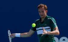 Daniil Medvedev of Russia returns a shot during his men's singles third round match against Alexei Popyrin of Australia on Day 7 of the 2021 Miami Open presented by Itaú at Hard Rock Stadium on March 28, 2021 in Miami Gardens, Florida. Picture:  Mark Brown/Getty Images/AFP.