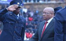 President Jacob Zuma paid tribute to the almost 60 police officers killed so far this year at the Union Buildings in Pretoria. Picture: Reinart Toerien/EWN
