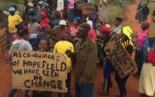Hopefield informal settlement residents say they're also protesting over poor service delivery. Picture: Masa Kekana/EWN.