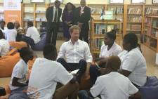 Prince Harry met 20 children from the Siyabonga Secondary School in Soweto introducing. Picture: Mia Lindeque/EWN.