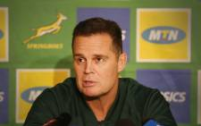 Springbok coach Rassie Erusmus addresses the media before the third and final test against England at Newlands. Picture: Bertram Malgas/EWN