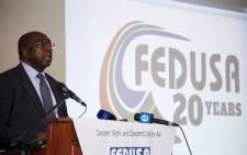 Finance Minister Nhlanhla Nene speaking at his first public event since being reappointed. He addressed a Fedusa gathering in Pretoria on 5 March 2018. Picture: Ihsaan Haffejee/EWN