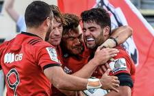 Crusaders celebrate a try during a Super Rugby match. Picture: @crusadersrugby/Twitter