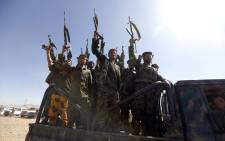 Houthi fighters chant slogans as they ride a military vehicle during a gathering in the capital Sanaa on 3 January 2017. Picture: AFP.