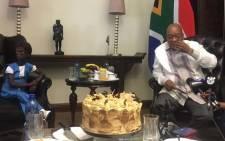 FILE: Ontlametse Phalatse met President Jacob Zuma on 23 March 2017 as part of her bucket list of wishes. Picture: Katleho Sekhotho/EWN.