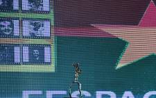 A picture shows the Yennega Stallion award during the closing ceremony of the 26th Pan-African Film and Television Festival (FESPACO) on March 2, 2019, at the Sports Palace in Burkina Faso's capital Ouagadougou. Picture: Issouf Sanogo / AFP
