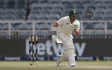 South Africa's Dean Elgar goes about constructing his innings. Picture: AFP