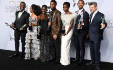 Angela Bassett, Lupita Nyong'o, Chadwick Boseman, Danai Gurira, Michael B. Jordan, and Andy Serkis, winners of Outstanding Performance by a Cast in a Motion Picture for 'Black Panther', pose in the press room during the 25th Annual Screen Actors Guild Awards at The Shrine Auditorium on 27 January 2019 in Los Angeles, California. Picture: AFP
