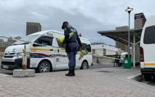Police on scene at the Cape Town Station Deck taxi rank after a shooting took place on 23 November 2020. Picture: Shamiela Fisher/EWN
