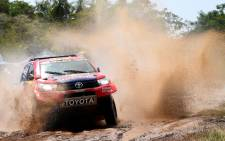 Toyota's pilot Nasser Al-Attiyah of Qatar and his co-pilot Matthieu Baumel of France compete during the 2017 Dakar Rally Stage 1 between Asuncion and Resistencia, in Argentina, on January 2, 2017. Picture: AFP