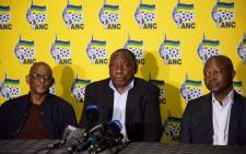 The ANC's Ace Magashule, Cyril Ramaphosa and David Mabuza. Picture: Ihsaan Haffejee/EWN