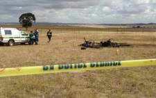 The wreck of the microlight aircraft that crashed near Malmesbury on 10 January 2013. Picture: Regan Thaw/EWN