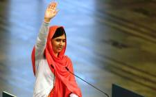 FILE: Nobel Peace Prize laureates Malala Yousafzai gestures after delivering her speech during the Nobel Peace Prize awarding ceremony at the City Hall in Oslo on 10 December, 2014. Picture: AFP.