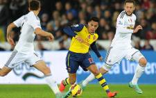 Arsenal's Alexis Sanchez in the game against Swansea on 9 November 2014. Picture: Official Arsenal Facebook page.