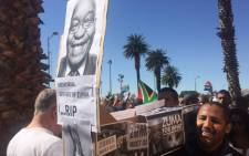 Protesters in Cape Town say this is the last straw, time to bury President Jacob Zuma's presidency. Picture: Lindsay Dentlinger/EWN.